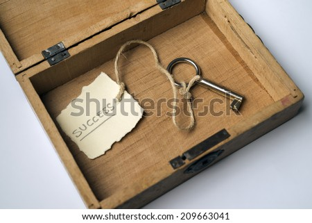 Wooden box containing the key to success - stock photo