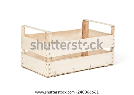 Wooden box for fruits or vegetables made from plywood. Isolated on white background. - stock photo