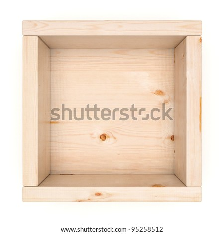 Wooden box for mailing letters with one cell and small walls,  isolated on white