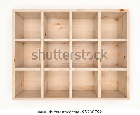 Wooden box for mailing letters with sixteen cells isolated on white