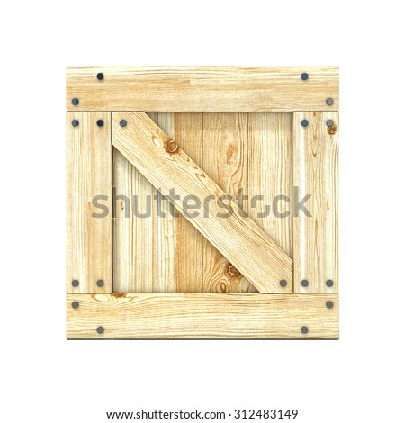 Wooden box. Front view. 3D render illustration isolated on a white background - stock photo
