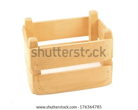 Wooden box isolated on white - stock photo