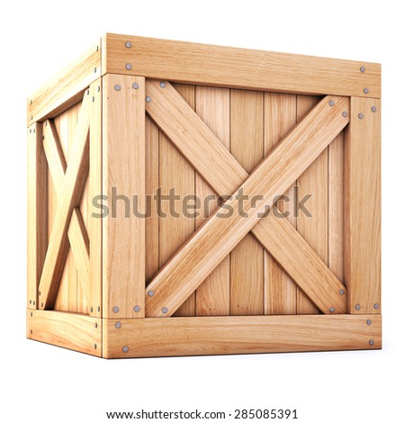 wooden box isolated on white background. - stock photo