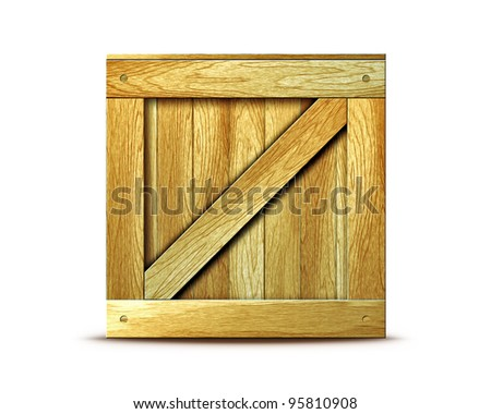 wooden box isolated on white background - stock photo