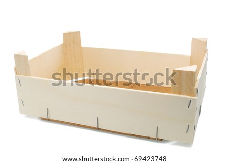 wooden box on a white background - stock photo