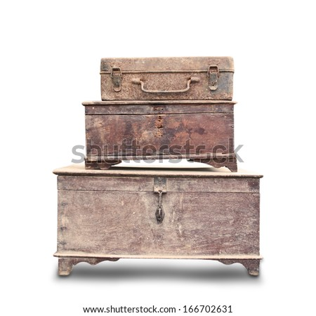 wooden box stack on white background - stock photo