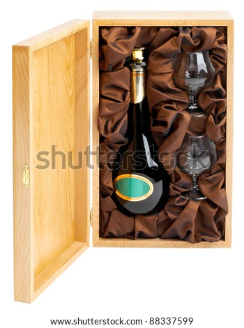 wooden box with bottle of wine and glasses