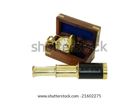 Wooden box with brass corner inlays, Telescoping telescope used to see distances, Gold pocket watch with a metal chain
