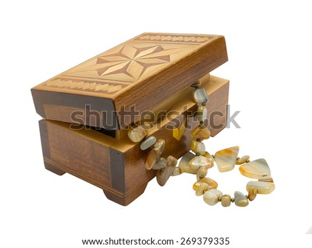 Wooden box with fashion necklace  isolated on white background