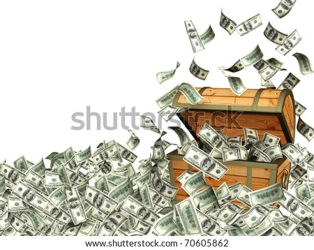 Wooden box with money. Isolated over white - stock photo