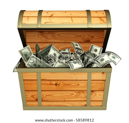 Wooden box with money - over white - stock photo