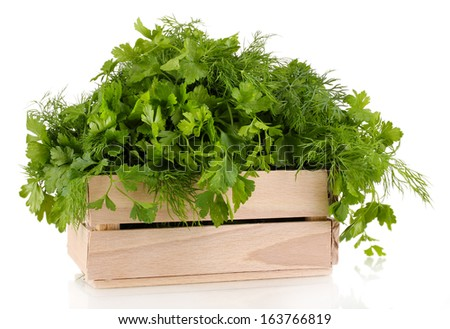 Wooden box with parsley and dill isolated on white   - stock photo