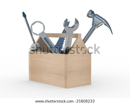 Wooden box with tools. Isolated 3D image - stock photo