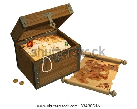 Wooden box with treasures and pirate map - stock photo
