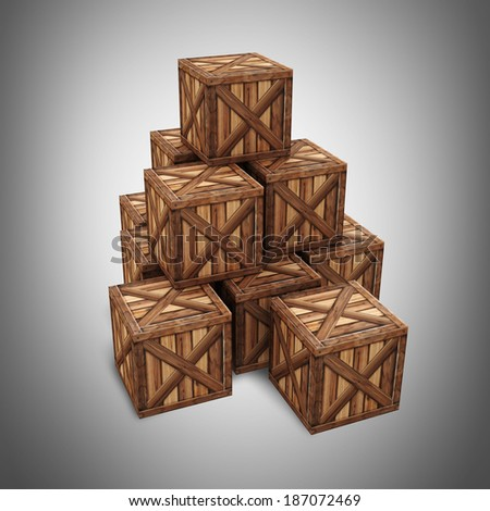wooden boxes 3d rendered. 3d render High resolution  - stock photo
