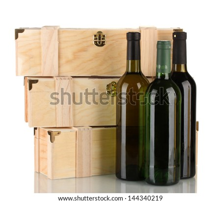 Wooden boxes for wine, isolated on white - stock photo