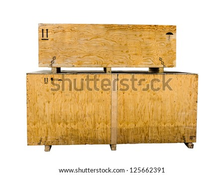 Wooden boxes on isolated background - stock photo