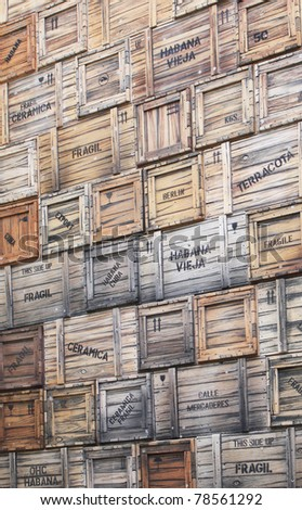 Wooden boxes with merchandise for import and export in Havana, Cuba. - stock photo