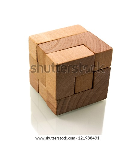 Wooden brain teaser - stock photo