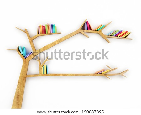 wooden branch shelf with colorful books isolated on white background - stock photo