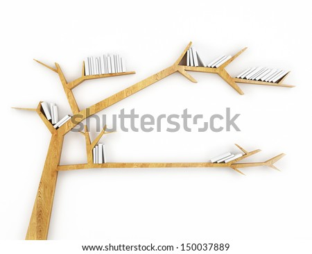wooden branch shelf with white books isolated on white background - stock photo