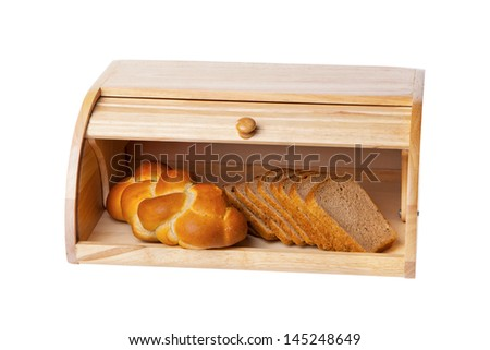 wooden bread box isolated on white - stock photo
