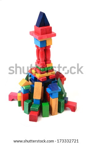 wooden brick castle isolated on the white background