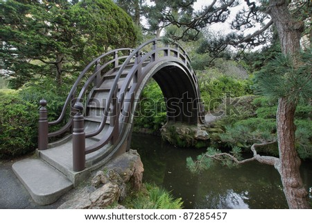 wooden bridge at japanese garden in san francisco golden gate park 2