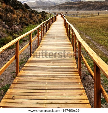 wooden bridge in the Cotopaxi National Park - stock photo