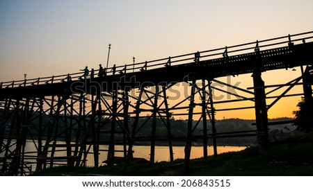 Wooden bridge in the evening of Thailand