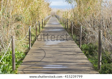 Wooden bridge in the park - stock photo