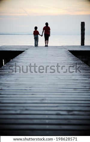 Wooden bridge on a sea dock