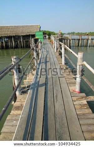 Wooden bridge on sea