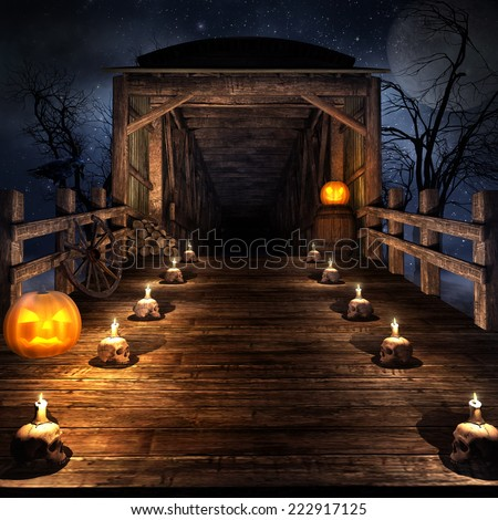Wooden bridge on the night of  Halloween,  with candles and pumpkins - stock photo