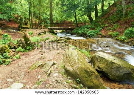 Wooden bridge over a mountain river in the forest - stock photo