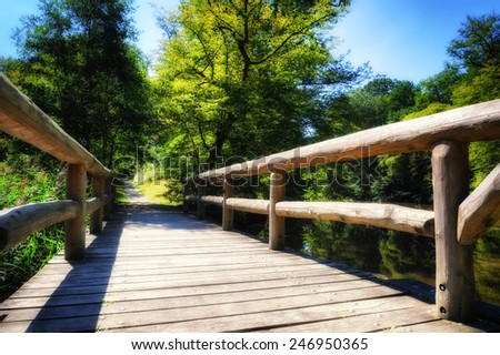 Wooden bridge over forest river  - stock photo