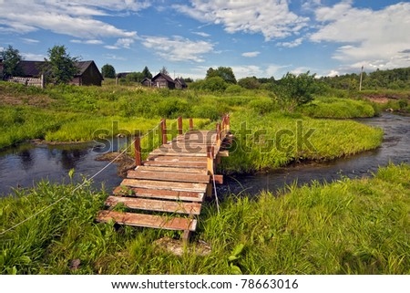 wooden bridge, the river, the old house