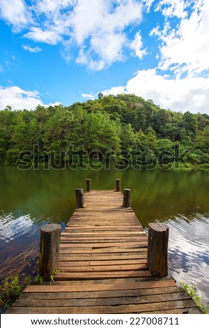 Wooden bridge with clear weather
