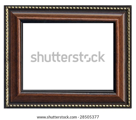 wooden brown frame with golden line across perimeter - stock photo