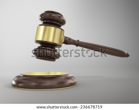 Wooden brown gavel - stock photo