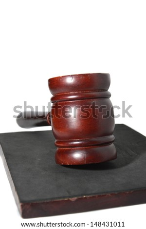 wooden brown gavel court isolated on whiten background - stock photo