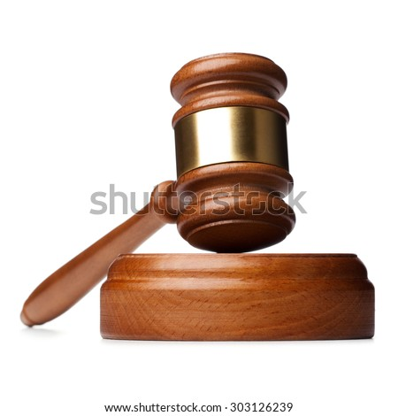 Wooden brown gavel isolated on white background - stock photo