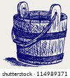Wooden bucket. Doodle style. Raster version - stock photo