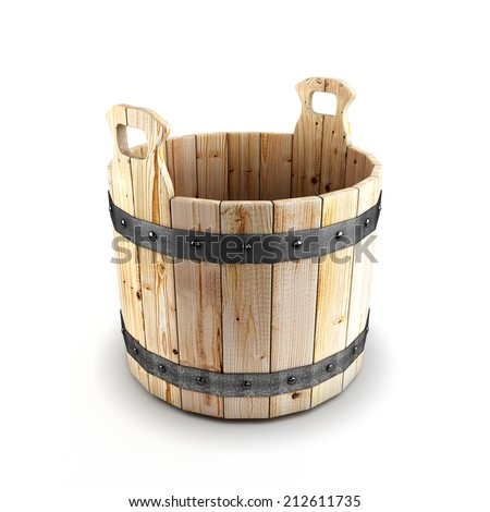 Wooden bucket for a bath isolated on a white background - stock photo