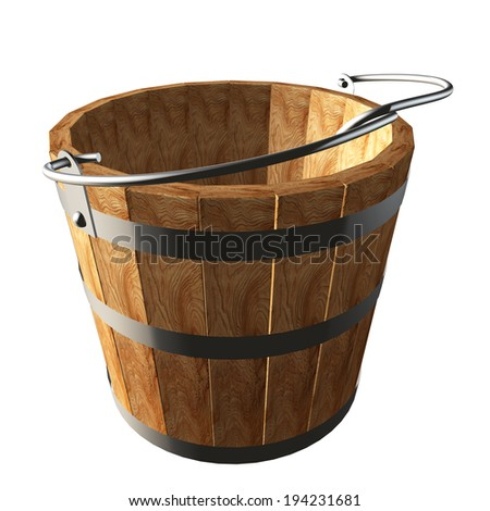 Wooden bucket. isolated white background. 3d - stock photo