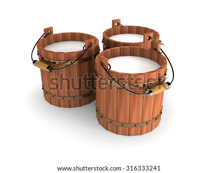 Wooden Bucket With Milk On White Background. 3d Render Illustration - stock photo