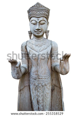 Wooden Buddha Statue , White Background - stock photo