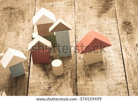 Wooden building blocks/toned photo - stock photo