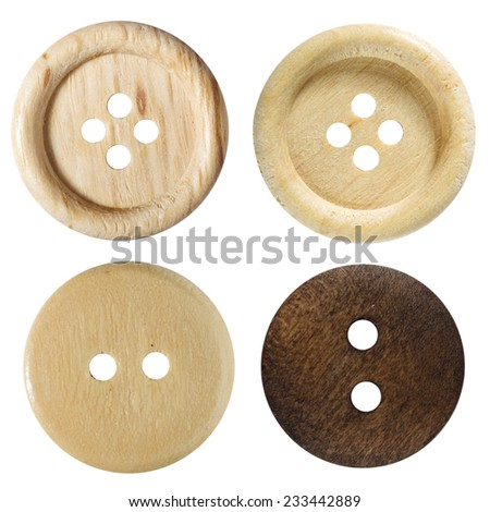 Wooden buttons isolated on white background - stock photo