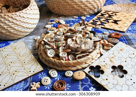 Wooden buttons - set for needlework - stock photo